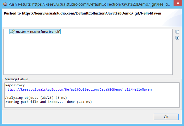 Importing Java code into Git on Visual Studio Online from Eclipse
