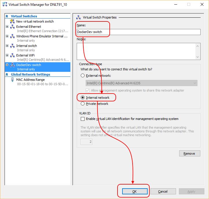 Using Docker tools for Visual Studio with a Hyper-V based Docker