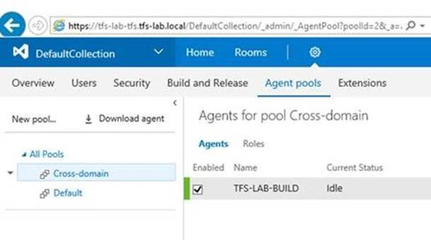 TFS 2017 build agent in untrusted domain – Real ALM